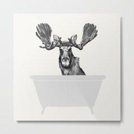Vintage Moose in Bathtub Metal Print