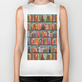 Vintage Books / Christmas bookshelf & holly wallpaper / holidays, holly, bookworm,  bibliophile Biker Tank