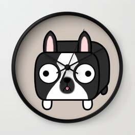 Boston Terrier Loaf - Black and White Dog Wall Clock