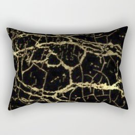 Gold and Black Marble Rectangular Pillow