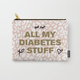 All My Diabetes Stuff™ (Icons Gold on Pink Leopard) Carry-All Pouch