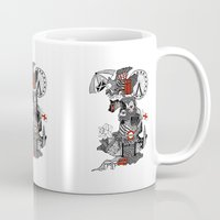 england Mugs featuring England Doodle by Rebecca Bear