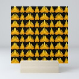 Alternating pattern of yellow hearts and stripes on a black background. Mini Art Print