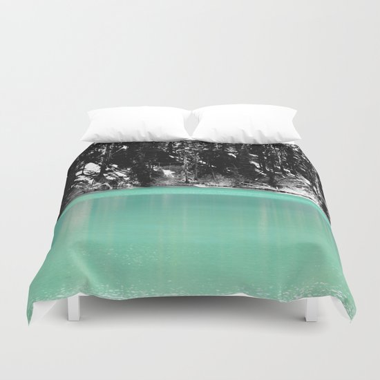 Green Water, Black and White Duvet Cover