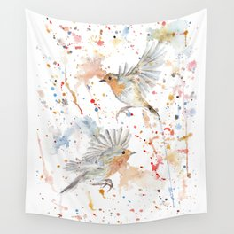 """Watercolor Painting of Picture """"Robins"""" Wall Tapestry"""