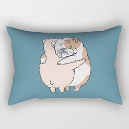 English Bulldog Hugs Rectangular Pillow