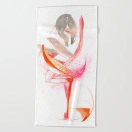 Expressive Dance Drawing Beach Towel