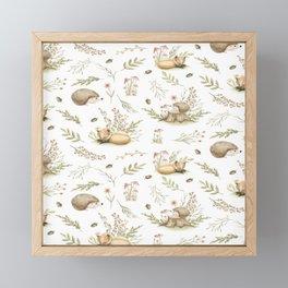 Fox pattern & Hedgehog pattern Framed Mini Art Print