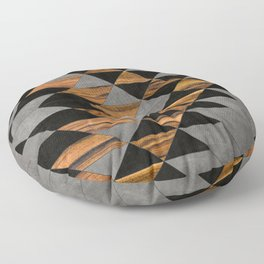 Urban Tribal Pattern No.10 - Aztec - Concrete and Wood Floor Pillow