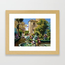 The Gardens of the Royal Alcazar, Seville, Spain by Manuel Garcia y Rodriguez Framed Art Print