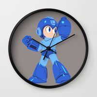 megaman Wall Clocks featuring Megaman by Megan Yiu