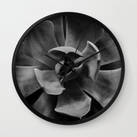 succulent Wall Clocks featuring succulent by Bonnie Jakobsen-Martin