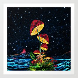 Cosmic mushrooms Art Print