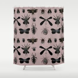 Entomology black and Antique Rose Shower Curtain