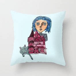 Coraline and Kitty Throw Pillow