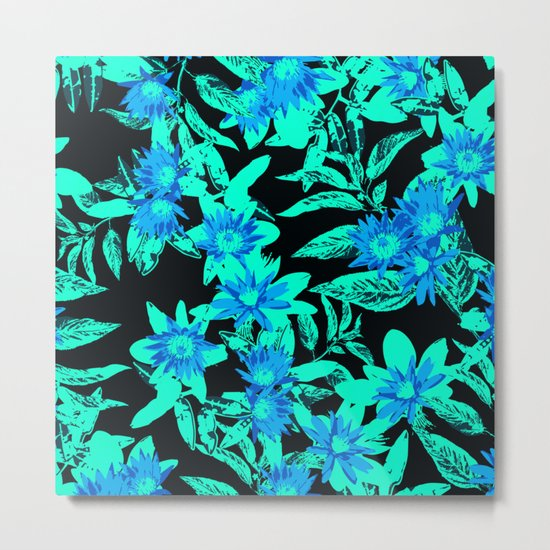 Bright Blue Vintage Blooms Metal Print