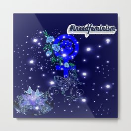 #IneedFeminism - Blue Bloom Metal Print