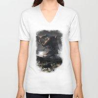 kaiju V-neck T-shirts featuring El Kaiju by SkullsNThings