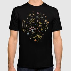 Flora of Planet Hinterland MEDIUM Black Mens Fitted Tee