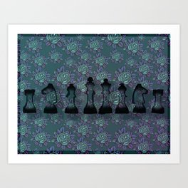 Floral Chess Art Print
