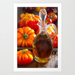 Still Life Olive Oil and Tomatoes Art Print