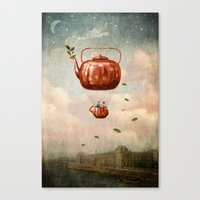 tea Canvas Prints featuring Tea for Two at Dusk by Paula Belle Flores