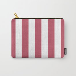 Popstar pink - solid color - white vertical lines pattern Carry-All Pouch