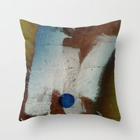 butt Throw Pillows featuring a butt by ONEDAY+GRAPHIC