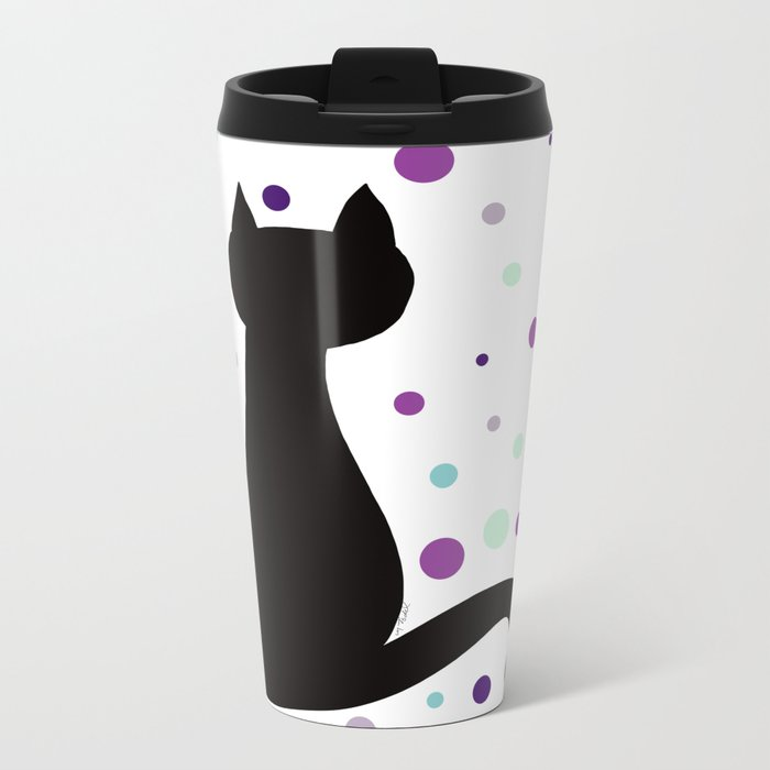 Black Cat Party! Metal Travel Mug