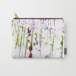 Abstract lime green neon pink purple watercolor paint splatters Carry-All Pouch