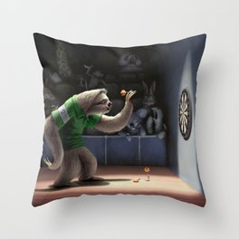 Sloth Darts Throw Pillow
