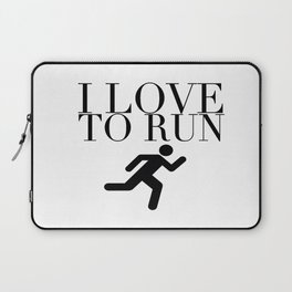 I Love to Run with Running Stick Figure in Black Laptop Sleeve