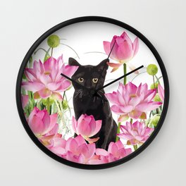Black Cat Lotos Flower Gras Wall Clock