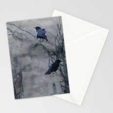 Crows In A Gothic Gray Wash Stationery Cards