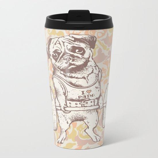 Pug Lift Camo Pink Metal Travel Mug