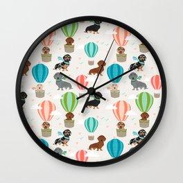 Dachshund hot air balloon dog cute design fabric doxie pillow decor phone case Wall Clock