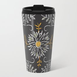 Slate Grey Floral Country Classical Oxford Brazil Pattern Travel Mug