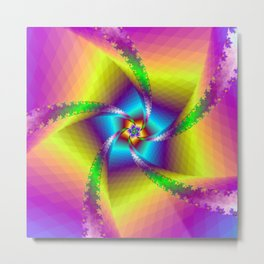 Whirligig in Yellow Blue and Green Metal Print