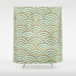 Japanese Seigaiha Wave – Mint & Copper Palette Shower Curtain