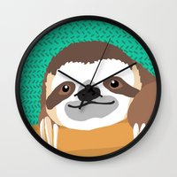 brad pitt Wall Clocks featuring Brad Sloth by AEle