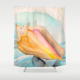 Conch Shell Watercolor Shower Curtain