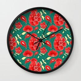 FLower red green Wall Clock