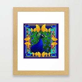 Decorative Blue Peacock & Yellow Butterflies Art Framed Art Print