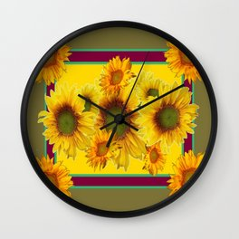 Olive Green Sunflowers Pattern Burgundy Color Floral Art Wall Clock