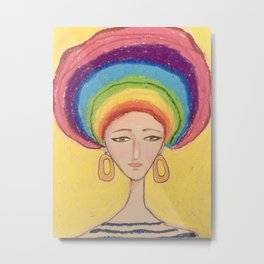Girl with rainbow hair Metal Print