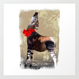 Okapi  with Red Bow Art Print