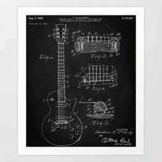 Gibson Guitar Patent Les Paul Vintage Guitar Diagram Art Print