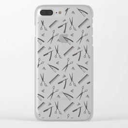Barbershop pattern shaving razor, brushes and scissors on white Clear iPhone Case