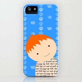 Snails and Puppy Dog Tails Red Headed Little Boy iPhone Case