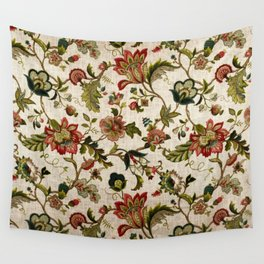 Red Green Jacobean Floral Embroidery Pattern Wall Tapestry